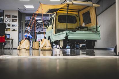 バーチャルオートサロンでダイハツが出展中の「ダイハツ・ハイゼットトラック」アウトドア仕様のコンセプトカーを紹介