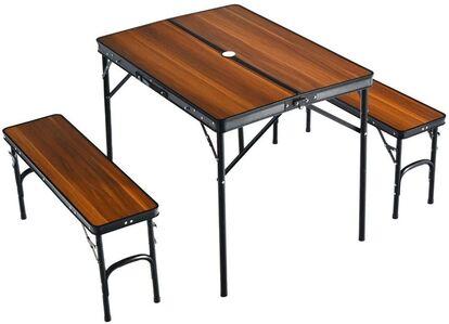 タンスのゲン 「アウトドアレジャーテーブル 幅90cm ベンチ 2脚セット」