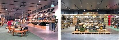 画像左:チェア展示スペース「Furniture Field」、画像右:「DINing」コーナー
