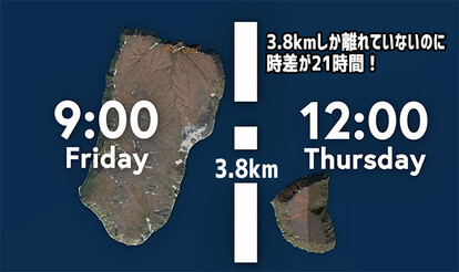 3.8キロしか離れてないのに時差が21時間ある2つの島