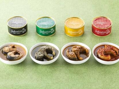 左からガーリック、バジル、カリー、トマト。各缶1個648円(税込)で、4つの味が楽しめる「4缶セット」2650円もあります。