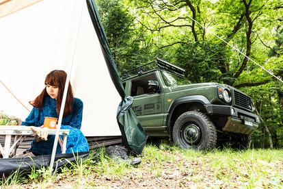 DAMDのボディキットを装着したクルマとキャンプギアのセットレンタカーサービス