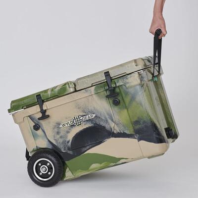 大径のウィール付きでクーラーボックスに重たい荷物を詰め込んだときでも移動がスムーズ!!!