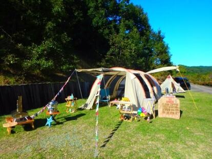 屋外に設置したカマボコテント
