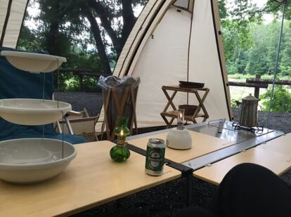 塗装前のキャンプテーブル